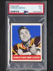 """1948 Leaf #15 Charley """"Choo Choo"""" Justice Redskins Rookie Ex PSA 5"""