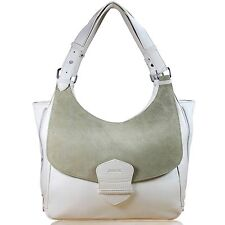 Nude Large Shoulder Bag Handbag Suede Saddlebag Shopper Beige Leather Women L