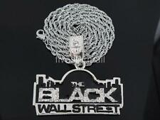 """THE BLACK WALL STREET SILVER TONE PENDANT CHARM 36"""" ROPE CHAIN HIPHOP BLING RARE"""