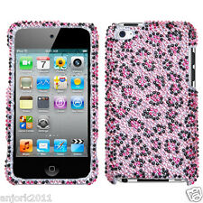 Apple iPod Touch 4 Snap-On Diamond Case Cover Accessory Pink Leopard