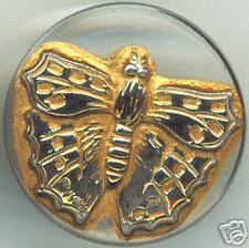 """CZECH GLASS BUTTON - Butterfly Clear w/ Gold Wash & Silver Lacy Wings 23 mm 7/8"""""""