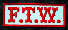 SONS OF OUTLAW  FTW BIKER ANARCHY GANG  4 INCH IRON ON PATCH (RED/WHT)