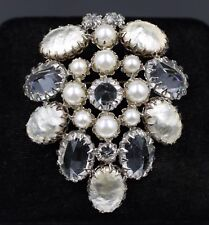 Restored Schreiner New York Faux Mabe Pearl Rhinestone Brooch Necklace Pendant