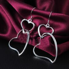 Fashion Women Silver E058 Double Heart Dangle Stud Earrings Valentine Gift SH