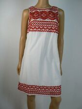 Sophie Max Red White Cotton Eyelet Embroidered Shift Dress XS 0 2 NEW S328