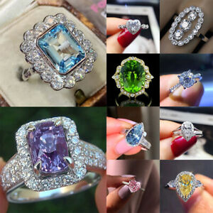 Gorgeous Women 925 Silver Jewelry Rings Cubic Zirconia Wedding Ring Size 6-10