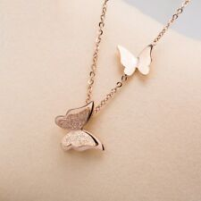 Rose Gold Butterfly Necklace Pendant Stainless Steel Beautiful Sweet Jewelry