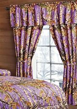 CAMO THE WOODS CURTAINS 5 PC SET AND VALANCE DRAPES NEW DARK PURPLE WOODS