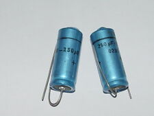 2x vintage SPRAGUE  250uF 25V Axial Electrolytic Capacitors NOS