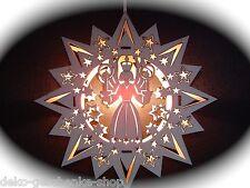 2D Fensterbild beleuchtet Wandbild aus Holz Bergmann Stern 30 cm 12028