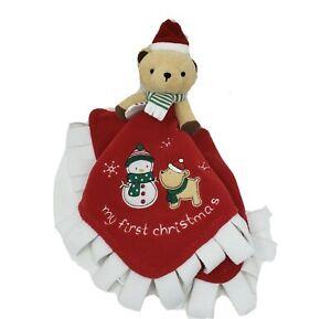 CARTER'S MY FIRST 1ST CHRISTMAS TEDDY BEAR SECURITY BLANKET STUFFED ANIMAL PLUSH