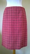 "Vintage Pure New Wool salmon/lemon/blue check straight Skirt Size M W 28"" L 23"""