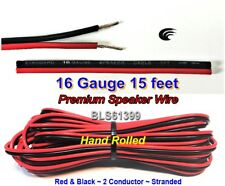15' ft Red Black 16 Gauge SPEAKER WIRE Cable Home Car Audio Wiring 12V DC Power