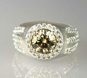 Anniversary Present 3.95 Ct Champagne Diamond Solitaire Halo Men's Round Ring