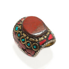 RED MOSS AGATE, CORAL & TURQUOISE GEMSTONE NEPALI BOHO RING SIZE 10'' LRJ_0262