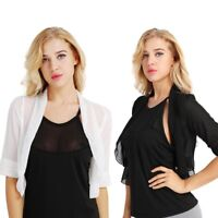 Adult Women's Sheer Chiffon Bolero Shrug Jacket Cropped Top Cardigan Party Plus
