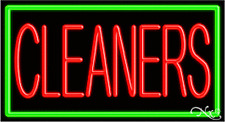 "BRAND NEW ""CLEANERS"" 37x20 W/BORDER REAL NEON SIGN w/CUSTOM OPTIONS 11061"
