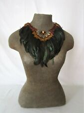 Handcrafted pheasant and coquil feather collar 35