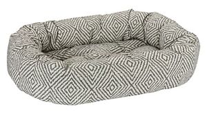 Bowsers Luxury Cushioned Oval Donut Dog Bed Jacquard and Micro Jacquard Fabric