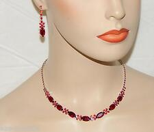 Wedding Silver Red Ruby Round And Marquise Crystal Necklace & Drop Earrings Set