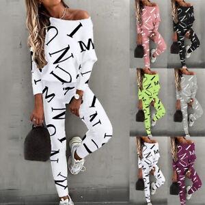 Damen Sport Sets Brief Print Langarm Top-Bluse Hose Trainingsanzug Casual Outfit