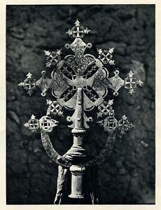 1930 photogravure AXUM ZIONS CHURCH SILVER CROSS Ethiopia Africa vintage print