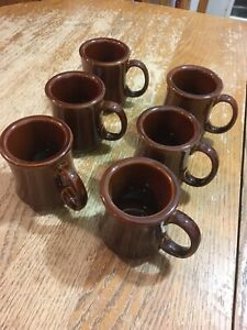 Lot of 6 ~ Ultima China Heavy Ceramic Retro Restaurant Diner Brown Coffee Cup