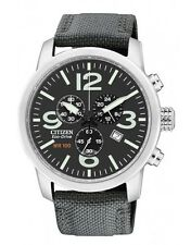 Citizen Eco-Drive Military Style Mens Steel Chronograph BESTSELLER AT2100-09E