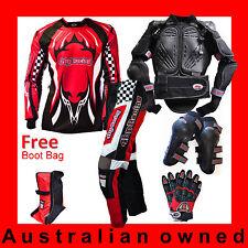 4BP MOTOCROSS MX Senior/Adult Gear (Armour,Pants,Jersey,Gloves,Knee + Bootbag)