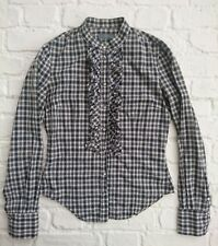 Alexander McQueen Fitted Ruffle Shirt Size 40 / UK 8 Check Western Snap Blouse
