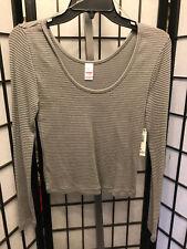 Women's Juniors Bongo Long Sleeve Grey Striped Thermal Ribbed Shirt L NWT's