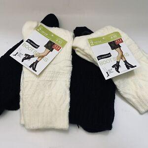 4 Pairs Women No Nonsense Boot Sock 4-10 Mid Calf Crew Black and Ivory