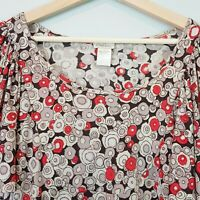 [ COLLETTE DINNIGAN ] Womens Silk Print Top | Size L or AU 14 / US 10