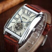Luxury Automatic Mechanical Men Wrist Watch Leather Band Skeleton Rectangle Dial
