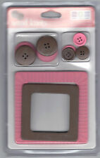 Wood Knots (2) PINK & BROWN WOOD FRAMES & (8) WOOD BUTTONS scrapbooking