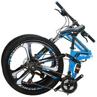 "Eurobike 26"" Folding Mountain Bike Shimano 21 Speed Full Suspension Bicycle Blue"