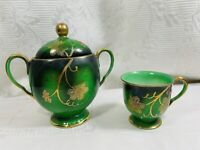 Vtg Valuet China/Tuska Mini Set Porcelain Sugar Bowl/Cup Green Gold floral Japan