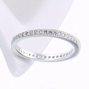 .18K White GoldPlated CZ Eternity Stackable Wedding Ring Band Size 4-10