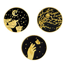 3 Pcs Vintage Enamel Collar Moon Brooch Pin Badge Corsage Brooch Jewelry FG