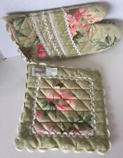 Potholder & Oven Mitt Set Printed Green Floral Kitchen 100% Cotton MaggiB Ganz