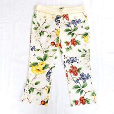Dolce&Gabbana Floral Print Crop Trouser Pants White NWT