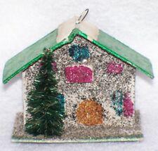 VTG MINI PUTZ MICA HOUSE BOTTLE BRUSH TREE ORNAMENT VILLAGE CHRISTMAS JAPAN
