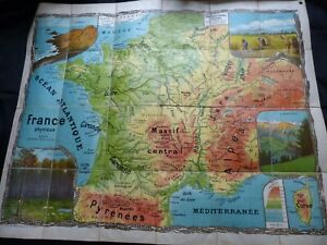 1930's Large Linen School Wall Maps of France x2 Tableaux Cartes Toutey Ed Lesot