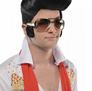 Gold Elvis Costume Vegas Sunglasses with Side Burns Adult Men's Presley Rock