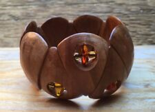 Chunky Wooden Panelled Bracelet/Faux Amber Bead/Statement Cuff/Ethnic/Hippy/Boho
