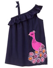 Gymboree Spice Market Girls 5T Peacock Dress Navy Purple Pink Ruffle Bow NEW NWT