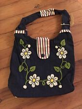 Denim Purse With Embroidered Wool Flowers