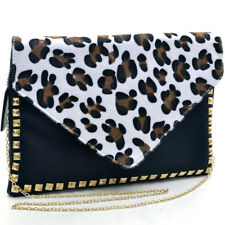 Women Evening Bag Envelope Clutch Gold Tone Pyramid Studded Chain Strap White