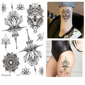 Black Fashion Temporary Tattoo Mandala Wolf Lotus Flower *UK SELLER* /-m869-/
