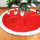 122CM/48'' Round Red Plush Xmas Christmas Tree Skirt Santa Claus Decorations